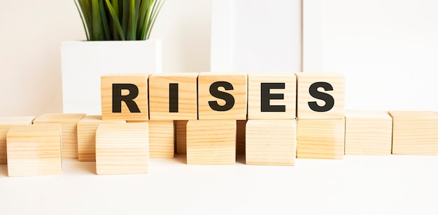 Wooden cubes with letters on a white table. the word is rises