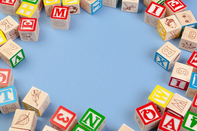 Wooden cubes with letters with copy space