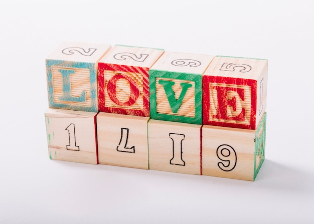 Wooden cubes with love inscription