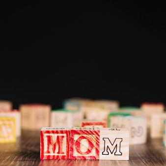 Wooden cubes with mom inscription