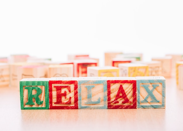 Wooden cubes with relax inscription