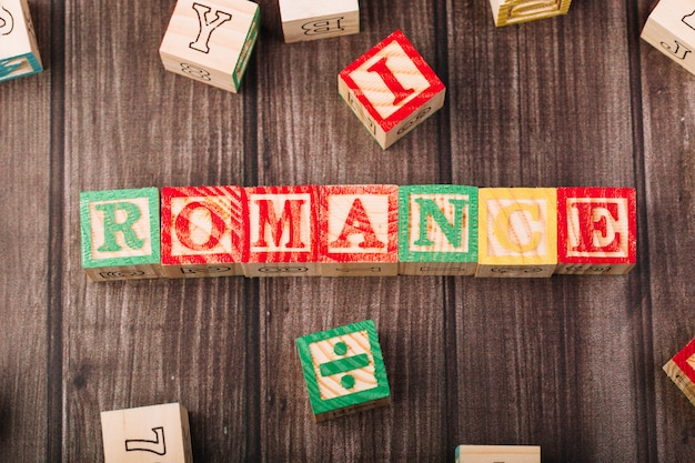 Wooden cubes with romance title