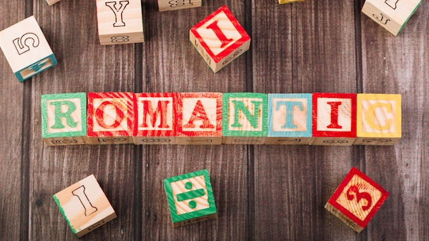 Wooden cubes with romantic title