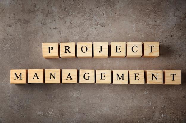 色の背景にテキストプロジェクト管理と木製の立方体