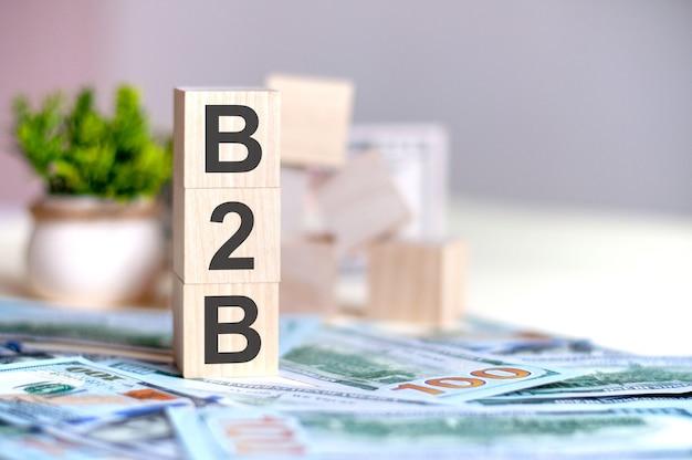 지폐에 수직 피라미드로 배열 된 문자 b2b가있는 나무 큐브, 화분 o의 녹색 식물