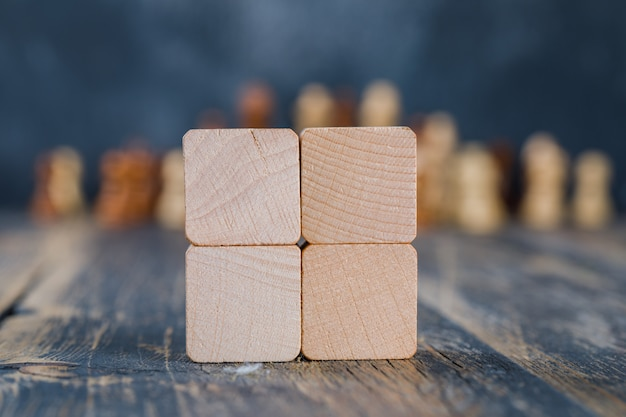 Wooden cubes on wooden table