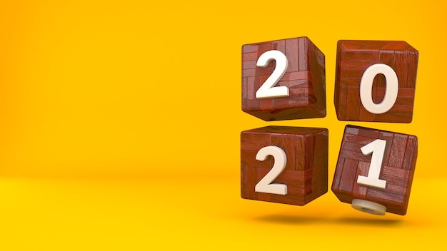 Wooden cubic with numbers 3d render background