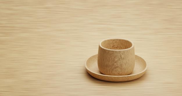 スペースが空のデザインの木製のモダンなイラスト3dレンダリングとテーブルの背景に木製カップ