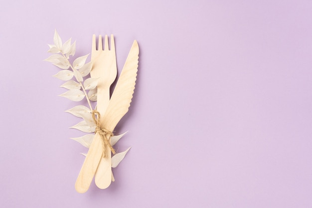 Wooden cutlery fork and takeaway knife with a dry branch of a flower on lavender background