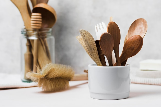 Wooden cutlery and natural hair brush