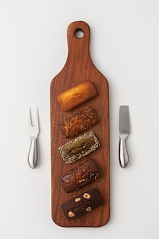 Wooden cutting board and plating bread