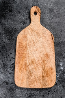 Wooden cutting board. top view. copy space