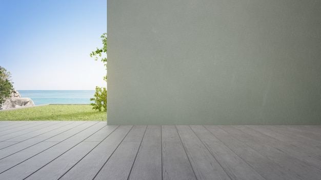 Wooden deck 3d rendering with sea view and empty concrete wall