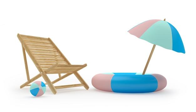 Деревянный шезлонг и пляжный зонт в спасательный круг