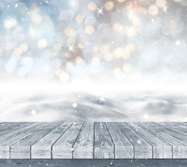 Wooden deck looking out to a snowy landscape against a bokeh lights background