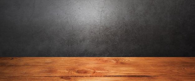 그런 지 회색 배경에 나무 갑판 테이블입니다. 항목, 로고 또는 레이블을 배치합니다. 레이아웃, 모형.
