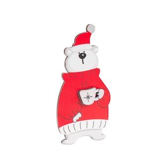 빨간 스웨터에 커피 한잔 마시는 북극곰 형태의 나무 장식