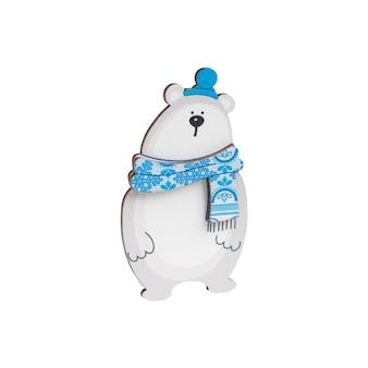 雪片と青いスカーフのホッキョクグマの形で木製の装飾
