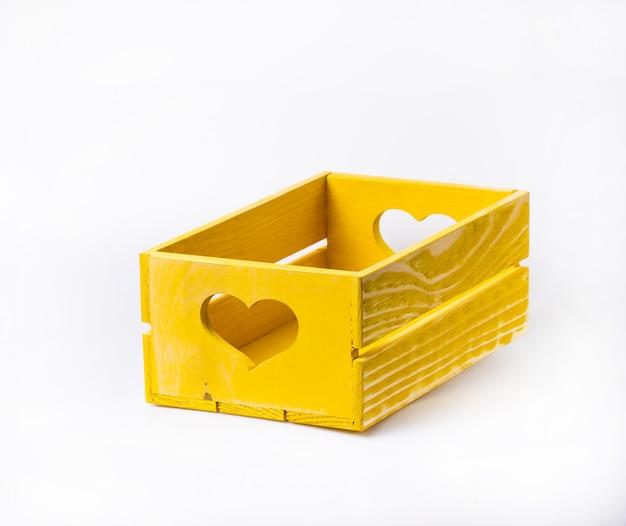 Wooden decorative box isolated on white background