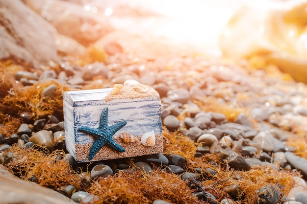Wooden decorative chest with sea shells and blue star on the sea coast.