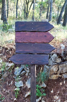 Wooden destination signs