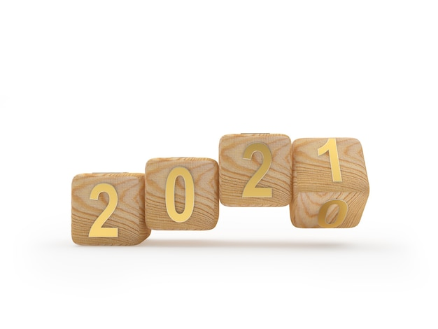 Деревянные кубики с числом 2021 вращаются