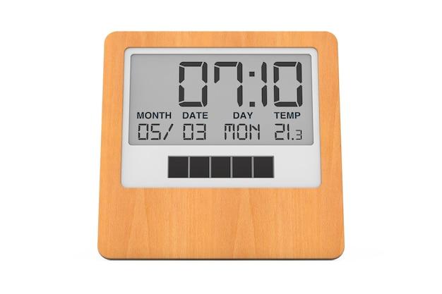 흰색 바탕에 나무 디지털 현대 알람 시계입니다. 3d 렌더링