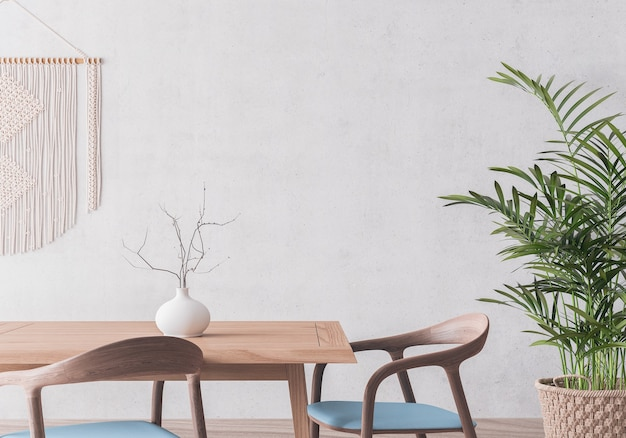 Wooden dining room design on gray wall mock up