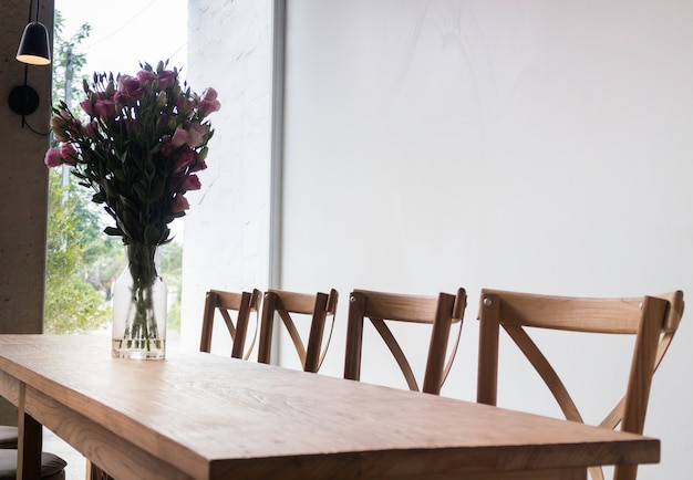 Wooden dining table in coffee shop