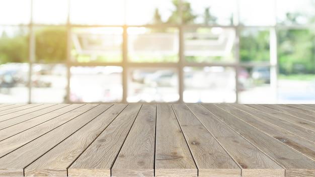 나무 디스플레이 테이블 커피숍 또는 사무실 장면 방에 제품을 표시하는 개념