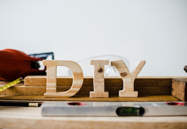 Wooden diy sign with tools