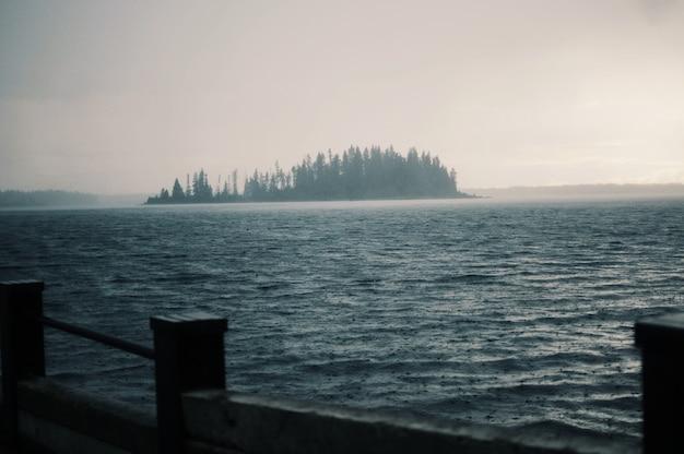 Pontili in legno sul corpo dell'acqua pura del lago in una giornata nebbiosa
