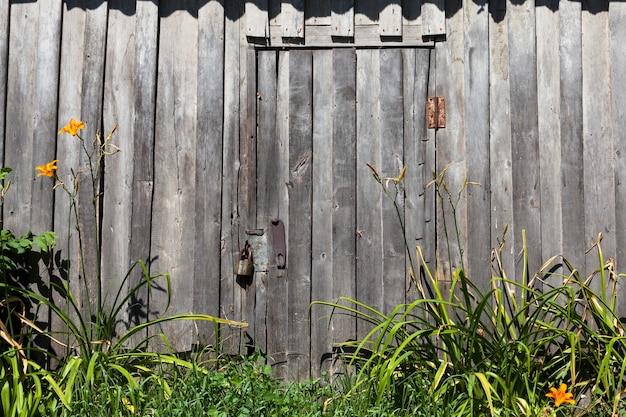 자물쇠로 닫힌 나무 문