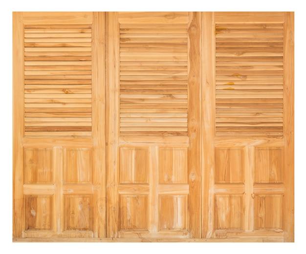 白い背景の上の木製のドア
