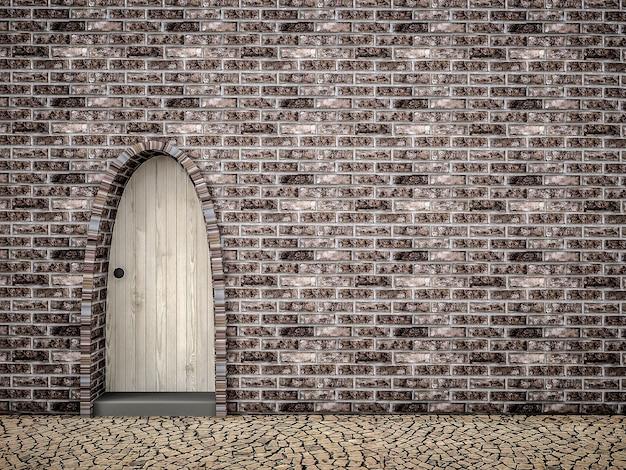 Wooden door with rock wall background, 3d rendering