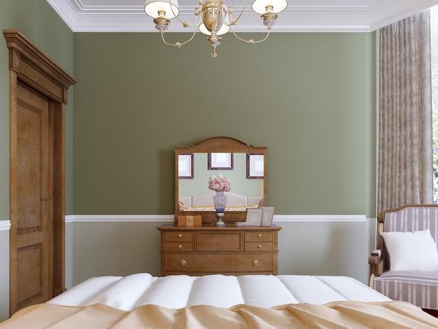 고전적인 침실에 거울과 슬라이딩 사물함이 있는 나무 옷장. 3d 렌더링.