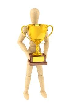 Деревянный манекен с золотым трофеем на белом фоне