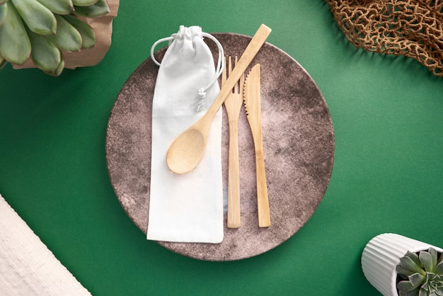 Wooden eating utensils with cloth bag case