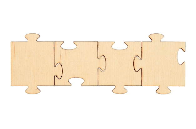 Wooden empty puzzles isolated on white background