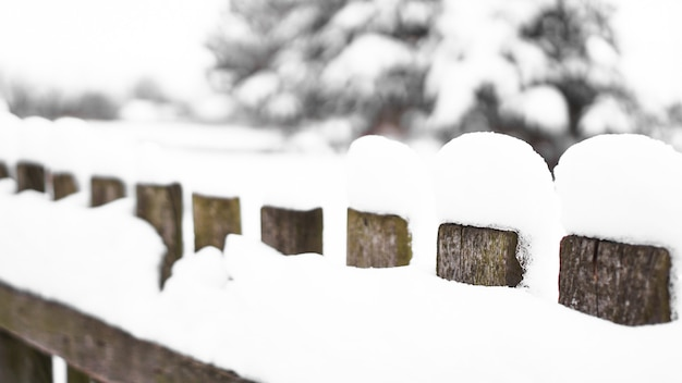 Wooden fence gate covered in white snow at heavy snowing snowstorm, bushes in background. snow on a wooden fence as background image.