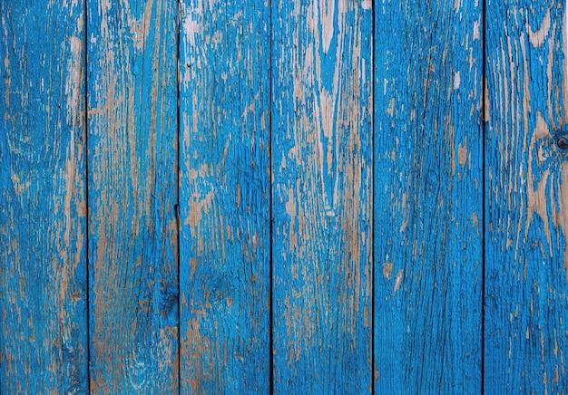 나무 울타리 오래 된 파란색 배경 또는 질감으로. 빈티지 페인트 나무 보드