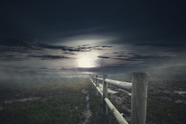 Wooden fence with mist on spooky grass field at night