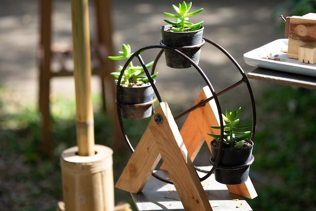 Wooden ferris wheel.
