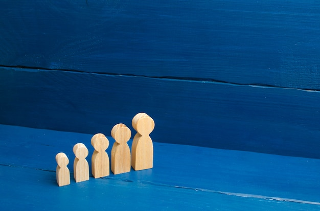 Wooden figures of people from small to large stand in a semicircle.