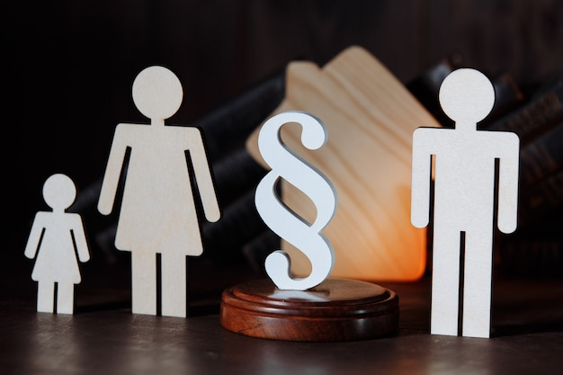 Wooden figures separated family with white paragraph sign