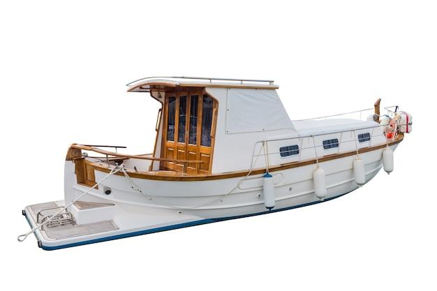 白で隔離される木製の漁船