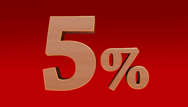 Wooden five ( 5 ) percent isolated  on a red background., 5 percent off