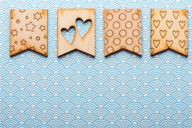 Wooden flags with hearts and stars