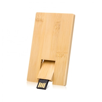 Wooden flash drive isolated on white background.