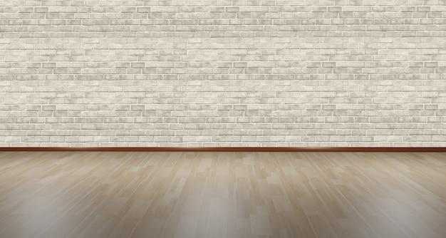 木製の床と白いレンガの壁の空の部屋の背景3dイラスト